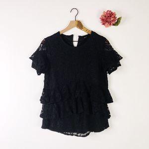 DU JOUR Knit Lace Top